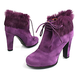 Suede High Heeled Ankle Boot with Faux Fur