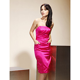 Sheath/Column Strapless Knee-length Stretch Satin Bridesmaid/ Wedding Party Dress