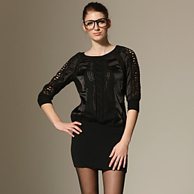 Piecred Design Long Sleeves Splicing Sweater Dress / Women's Dresses-Black (FF-A-BL0996008)