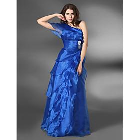 A-line One Shoulder Floor-length Organza Elastic Satin Evening Dress