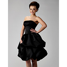 Ball Gown Strapless Short/ Mini Satin Bridesmaid/ Wedding Party Dress
