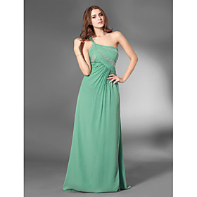 Sheath/ Column One Shoulder Floor-length Chiffon Over Elastic Satin Evening Dress