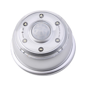 Wall Hanging LED 6-LED PIR Motion Sensor LED Light Lamp - Silver