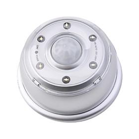 Wall Hanging LED 6-LED PIR Motion Sensor LED Light Lamp - Silver