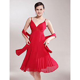 A-line Spaghetti Straps Knee-length Chiffon Mother of the Bride Dress With A Wrap
