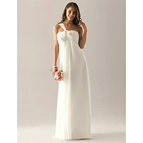 Empire One Shoulder Floor-length Chiffon Elastic satin Ruffles Bridesmaid Dress(FSL0854)