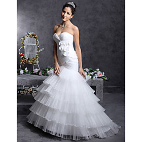Trumpet/ Mermaid Sweetheart Sweep/ Brush Train Satin Tulle Wedding Dress (WSA11371)