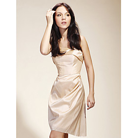 Sheath/ Column Strapless Short/Mini Taffeta Bridesmaid/ Cocktail/ Gossip Girl Fashion Dress