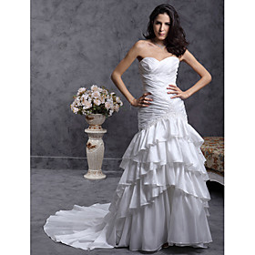 Trumpet/ Mermaid Sweetheart Court Train Taffeta Wedding Dress (WSY02327)