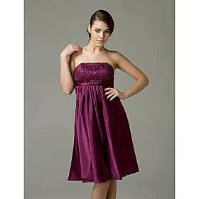 Empire Strapless Knee-length Satin Bridesmaid/ Wedding Party Dress