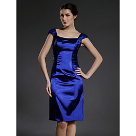 Sheath/ Column Square Knee-length Capped Elastic Woven Satin Mother of the Bride Dress
