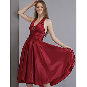 2009 Style A-Line Halter Matte Satin Bridesmaid/ Wedding Party Dress (HSX037)