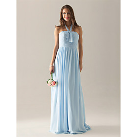 Sheath/ Column Halter Floor-length Chiffon Over Elastic Satin Bridesmaid/ Wedding Party Dress
