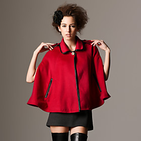 Short Style Insert Pocket Lapel Design Cloak / Women's Outerwears (FF-F-BL0736015)
