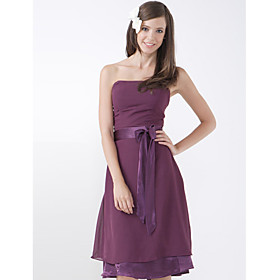 A-line Strapless Knee-length Chiffon Elastic Satin Bridesmaid/ Wedding Party Dress