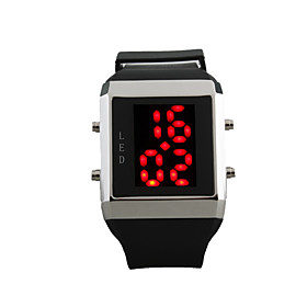 Silicone Band LED Fashion Wrist Watch with Weekday Display - Black Red Light