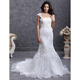 Trumpet/ Mermaid Court Train Organza Satin Wedding Dress With Beaded Appliques(WSM0392)