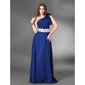 Sheath/ Column One Shoulder Floor-length Chiffon/ Satin Evening Dress