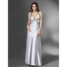 Sheath/ Column Halter Floor-length Elastic Satin Evening Dress (FSA11427)