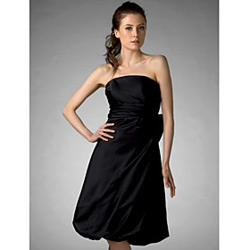A-line Princess Strapless Knee-length Satin Bridesmaid/ Wedding Party/ Homecoming Dress
