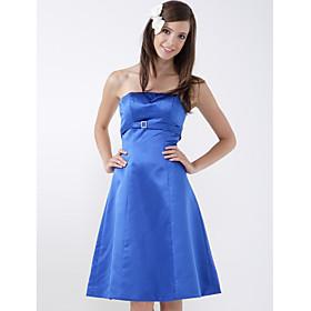 A-line Strapless Sleeveless Knee-length Satin Bridesmaid/ Wedding Party Dress