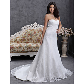 A line Sweetheart Court Train Lace Over Satin Wedding Dress