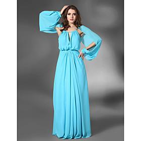 Chiffon Sheath/ Column Jewel Neckline Floor-length Evening Dress inspired by Rebecca Hall