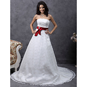 A-line Sweetheart Court Train Satin Lace Wedding Dress (HSX149)