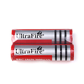 18650 3.7V 3000mAh BRC18650 UltraFire Battery With Protection (2 Pack)