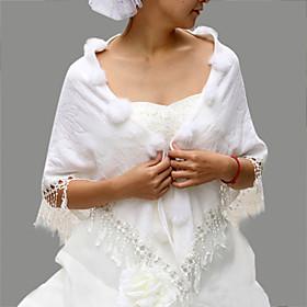Sleeveless Faux Fur Bridal Wedding Jacket/ Wrap (0498-PJ0071-2021)