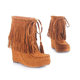 Suede Short Boots w. Two Layered Tassel