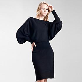 Bat Sleeve Loose Shape Cashmere Black Dress