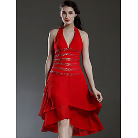 A-line Halter Asymmetrical Elastic Woven Satin Chiffon Bridesmaid/ Wedding Party Dress (HSX312)