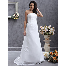 A-line One Shoulder Sweep/ Brush Train Chiffon Wedding Dress