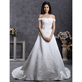 Princess A-line Off-the-shoulder Court Train Satin Organza Wedding Dress (HSGX019)