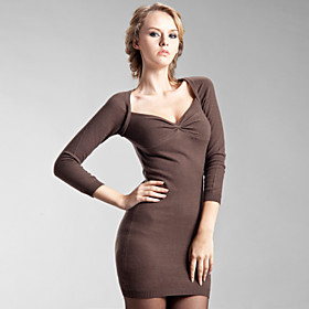 TS Gathered Neckline Cashmere Bodycon Dress