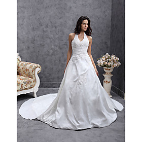 A-line Halter Chapel Train Satin Taffeta Wedding Dress (WSM0461)