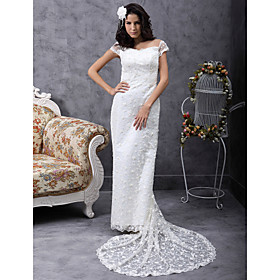 Sheath / Column Off-the-shoulder Court Train Lace Satin Wedding Dress
