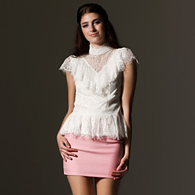 Layered Lace Design Short Sleeves Stand Collar Shirt / Women's Shirts (FF-A-BL0996012)