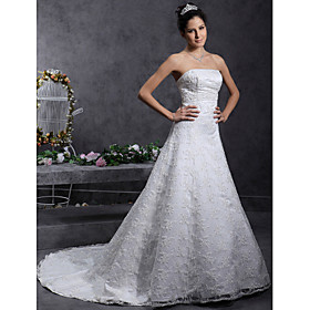 A-line/ Princess Strapless Court Train Lace Over Satin Wedding Dress