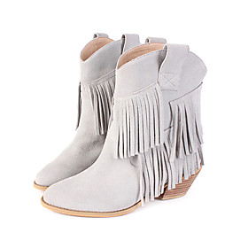 Real Leather Low Heeled Short Boots With Tassels
