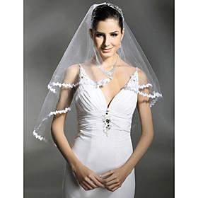 1 Layer Beautiful Fingertip Length Wedding Veil