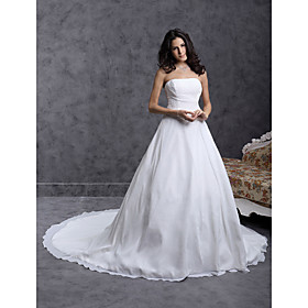 A-line/ Princess Strapless Cathedral Train Chiffon Over Satin Wedding Dress With Ruched Waist