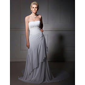 A-line Strapless Chiffon Court Train Wedding Dress (WSM04547)