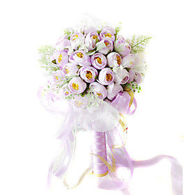 Elegant Silk Rose With Chiffon Decoration Round Wedding Bouquet /Bridal Bouquet(0797-SIM135)