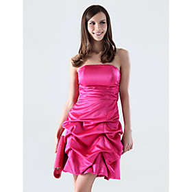 A-line Strapless Short/ Mini Satin Bridesmaid/ Cocktail Dress (WSM04498)