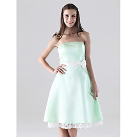 A-line Strapless Knee-length Satin Lace Bridesmaid/ Homecoming Dress