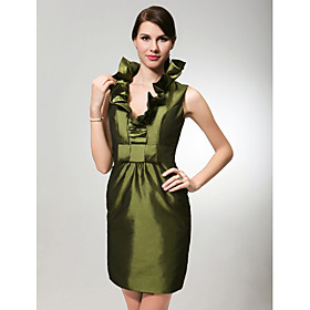 Sheath/ Column V-neck Short/ Mini Taffeta Bridesmaid Dress (FSH02552)