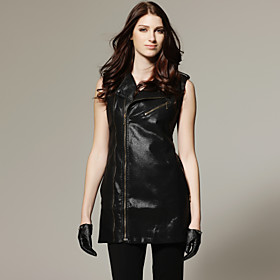 TS Lapel Collar Zipper Vest Sleeveless Jacket