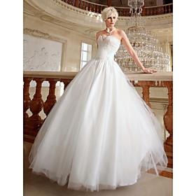 Ball Gown Sweetheart Floor-length Satin Organza Wedding Dress